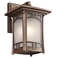 Kichler Outdoor Wall Light with White Mica Shade in Aged Bronze Finish