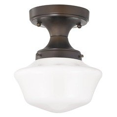 8-Inch Wide Bronze Schoolhouse Ceiling Light