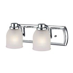 2-Light Bathroom Light with Frosted Prismatic Glass in Chrome Finish