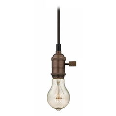 Bronze Bare Bulb Mini-Pendant Light with 40-Watt Vintage Edison Bulb