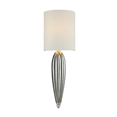 Sconce Wall Light with White Shade in Silver Leaf Finish