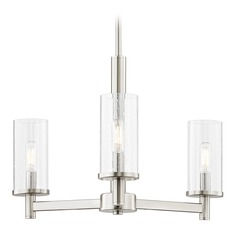 3-Light Modern Chandelier Seeded Glass Satin Nickel