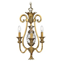 3-Light Pineapple Mini-Chandelier with Clear Glass in Burnished Brass Finish