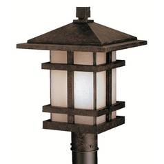 Kichler Post Light with Brown Glass in Aged Bronze Finish