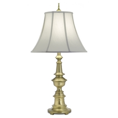 Stiffel Table Lamp with White Shade in Satin Brass Finish