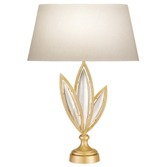 Fine Art Lamps Marquise Florentine Brushed Gold Leaf Table Lamp with Oval Shade