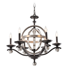 Kalco Lighting Rothwell Polished Satin Nickel Chandelier