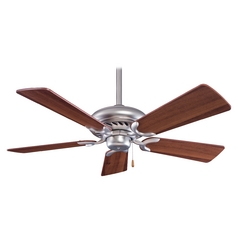 44-Inch Ceiling Fan Without Light in Brushed Steel Finish