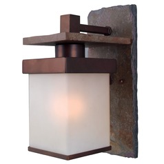 Outdoor Wall Light with White Glass in Natural Slate with Copper Finish