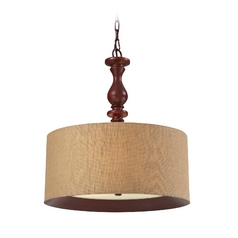 LED Drum Pendant Light with Brown Shade in Dark Walnut Finish