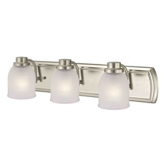 3-Light Vanity Light with Frosted Prismatic Glass in Satin Nickel Finish