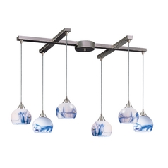 Multi-Light Pendant Light with Art Glass and 6-Lights