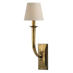 Modern Sconce Wall Light with Beige / Cream Paper Shade in Aged Brass Finish