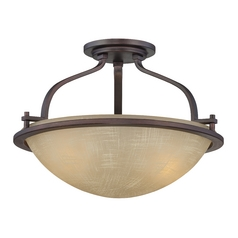 Semi-Flushmount Light with Beige / Cream Glass in Tuscana Finish