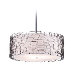 Avenue Lighting Polished Nickel Mini-Pendant with Drum Shade