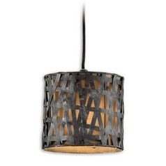 Woven Metal Drum Shade Mini-Pendant Light