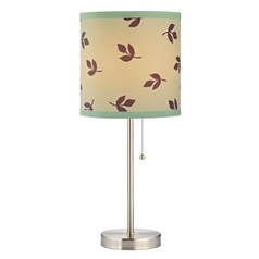 Design Classics Lighting Pull-Chain Table Lamp with Leaf Drum Shade 1900-09 SH9486