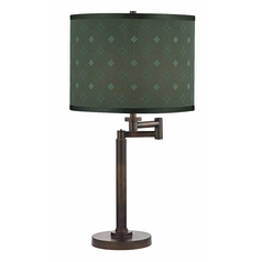 Design Classics Lighting Modern Swing Arm Lamp with Green Shade in Bronze Finish 1902-1-604 SH9479