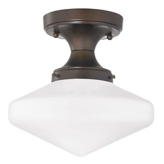 10-Inch Wide Bronze Schoolhouse Ceiling Light