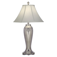 Stiffel Table Lamp with White Shade in Antique Nickel Finish