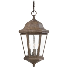 Outdoor Hanging Light with Clear Glass in Vintage Rust Finish
