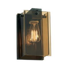 Modern Sconce Wall Light with Brown Glass in Black Brass Finish