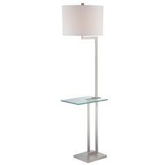 Gallery Tray Floor Lamp with Drum Shade