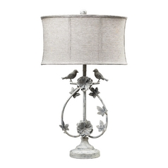 Table Lamp with Grey Shade in Antique Whte Finish