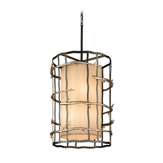 Pendant Light with Beige / Cream Shades in Graphite and Silver Finish