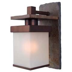 Outdoor Wall Light with Frosted Glass in Natural Slate with Copper Finish