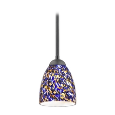 Design Classics Lighting Modern Mini-Pendant Light with Blue Glass 581-07  GL1009MB