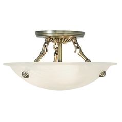 Livex Lighting Oasis Antique Brass Semi-Flushmount Light