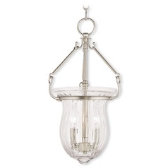 Livex Lighting Andover Brushed Nickel Mini-Pendant Light with Fluted Shade