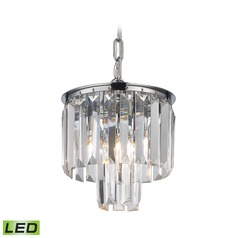Elk Lighting Palacial Polished Chrome LED Mini-Pendant Light with Drum Shade