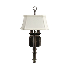 Traditional Sconce with White Shade in Copper Bronze Finish