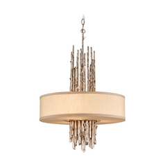 Drum Pendant Light with Beige / Cream Shade in Silver Leaf Finish