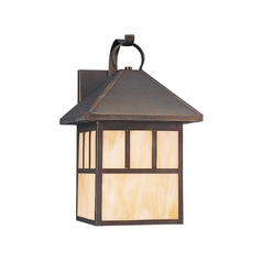 Outdoor Wall Light with Beige / Cream Glass in Antique Bronze Finish