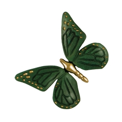 Michael Healy Butterfly Door Knocker in Green with Brass Finish