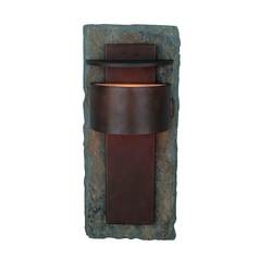 Modern Outdoor Wall Light in Natural Slate with Copper Finish