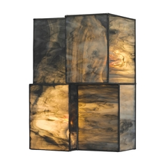 Modern LED Sconce Wall Light with Brown Glass in Brushed Nickel Finish