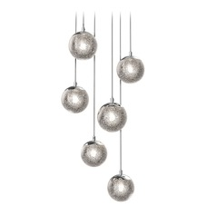 Sonneman a Way Of Light Champagne Bubbles Polished Chrome LED Multi-Light Pendant with Globe Shade