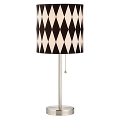 Design Classics Lighting Satin Nickel Pull-Chain Table Lamp with Harlequin Patterned Drum Shade 1900-09 SH9489