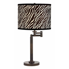 Design Classics Lighting Modern Swing Arm Lamp with Black Shade in Bronze Finish 1902-1-604 SH9485