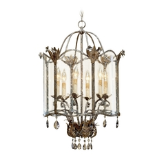 Mini-Chandelier with Clear Glass in Viejo Gold/silver Finish