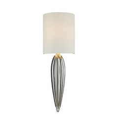 LED Sconce Wall Light with White Shade in Silver Leaf Finish
