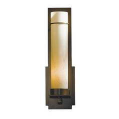 Sconce Wall Light with Brown Glass in Dark Smoke Finish