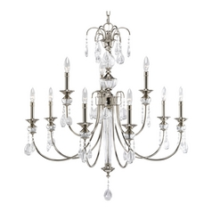 Progress Crystal Chandelier with Clear Glass in Polished Nickel Finish