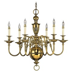 Hinkley 6-Light Chandelier in Burnished Brass