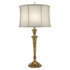 Stiffel Table Lamp with White Shade in Burnished Brass Finish