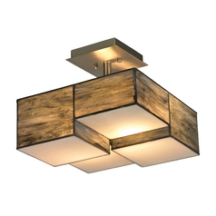 Modern LED Semi-Flushmount Light with Brown Glass in Brushed Nickel Finish